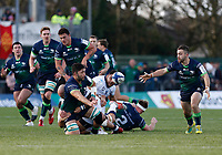 17th November 2019; The Sportsground, Galway, Connacht, Ireland; European Rugby Champions Cup, Connacht versus Montpellier; Colby Fainga'a plays the ball out to Caolin Blade to set up a Connacht attack - Editorial Use