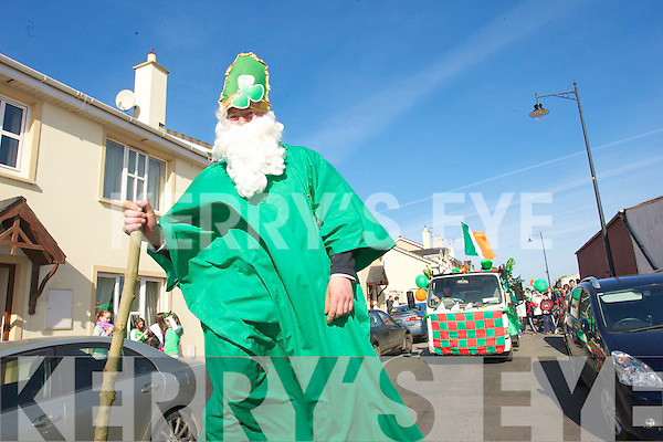 Saint Patrick leads the Kilflynn Saint Patrick's day parade in Kilflynn on Tuesday