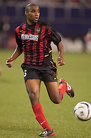 Eddie Pope of the MetroStars during a game against the Galaxy. The LA Galaxy tied the NY/NJ MetroStars 1-1 on 4/19/03 at Giant's Stadium, NJ.