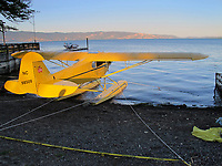 A Piper J-3 Cub on floats tied up on the beach at the Skylark Shores resort during the Clear Lake Splash In, Lakeport, Lake County, California