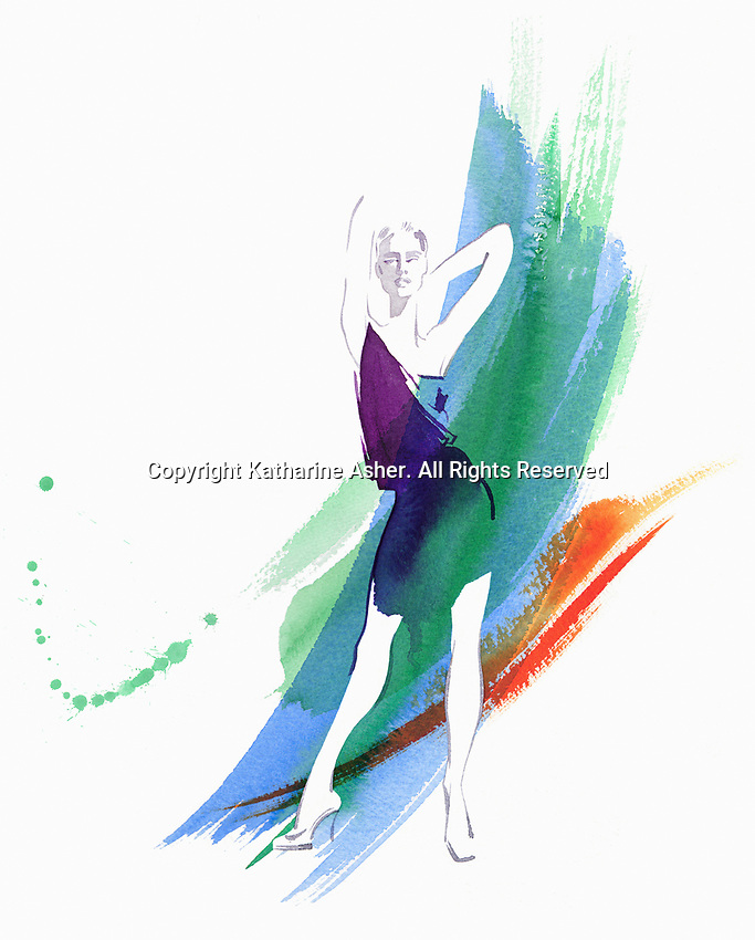 Fashion model posing against watercolour brush strokes