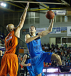 Montakit Fuenlabrada's Xavi Rey (l) and Alba Berlin's Elmedin Kikanovic during Eurocup, Regular Season, Round 6 match. November 16, 2016. (ALTERPHOTOS/Acero)