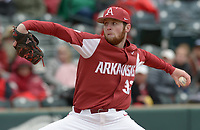 NWA Democrat-Gazette/ANDY SHUPE<br />Arkansas closer Matt Cronin delivers to the plate against South Carolina Saturday, April 14, 2018, during the seventh inning at Baum Stadium. Visit nwadg.com/photos to see more photographs from the game.