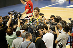 Spain's Pau Gasol attends the journalists during training session.July 23,2012(ALTERPHOTOS/Acero)