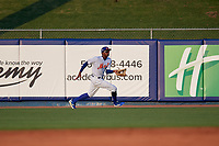 St. Lucie Mets right fielder Hansel Moreno (9) catches a fly ball during a Florida State League game against the Florida Fire Frogs on April 12, 2019 at First Data Field in St. Lucie, Florida.  Florida defeated St. Lucie 10-7.  (Mike Janes/Four Seam Images)