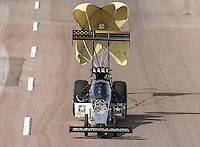 Feb 21, 2015; Chandler, AZ, USA; NHRA top fuel driver Tony Schumacher during qualifying for the Carquest Nationals at Wild Horse Pass Motorsports Park. Mandatory Credit: Mark J. Rebilas-