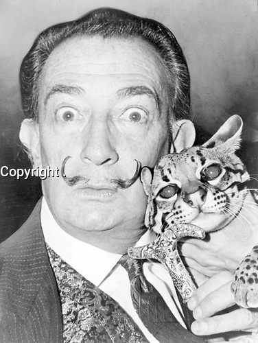 """n <br /> English: Salvador Dali with ocelot and cane.<br /> Date <br /> <br /> 1965<br /> Source <br /> <br /> Library of Congress. New York World-Telegram & Sun Collection. http://hdl.loc.gov/loc.pnp/cph.3c14985<br /> Author <br /> <br /> Roger Higgins, World Telegram staff photographer - Salvador Domènec Felip Jacint Dalí i Domènech, Marquis de Púbol (May 11, 1904 – January 23, 1989), commonly known as Salvador Dalí  was a prominent Spanish Catalan surrealist painter born in Figueres.<br /> <br /> Dalí was a skilled draftsman, best known for the striking and bizarre images in his surrealist work. His painterly skills are often attributed to the influence of Renaissance masters.His best-known work, The Persistence of Memory, was completed in 1931. Dalí's expansive artistic repertoire includes film, sculpture, and photography, in collaboration with a range of artists in a variety of media.<br /> <br /> Dalí attributed his """"love of everything that is gilded and excessive, my passion for luxury and my love of oriental clothes to a self-styled """"Arab lineage,"""" claiming that his ancestors were descended from the Moors.<br /> <br /> Dalí was highly imaginative, and also had an affinity for partaking in unusual and grandiose behavior. His eccentric manner and attention-grabbing public actions sometimes drew more attention than his artwork to the dismay of those who held his work in high esteem and to the irritation of his critics -"""