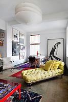 Modern yellow chaise lounge