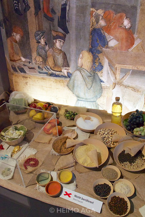 Linz, Austria. Schlossmuseum (Castle Museum).<br /> Marco Polo exposition &ldquo;Von Venedig nach China (From Venice to China)&rdquo;.<br /> Venetian food in Marco Polo's time.