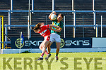 Amanda Brosnan Kerry turns Jessica O'Shea Cork during their Munster Championship clash in Fitzgerald Stadium on Saturday evening