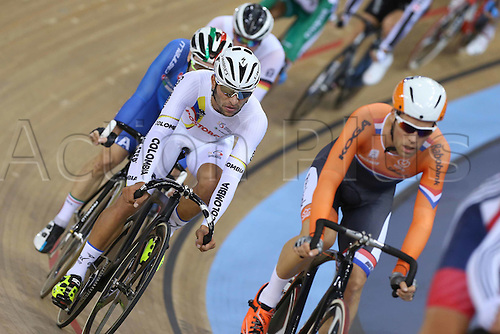 05.03.2016. Lee Valley Velo Centre, London, England. UCI Track Cycling World Championships Mens Omnium.  GAVIRIA RENDON Fernando (COL) finished in 1st place/gold