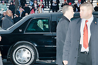 Newly-inaugurated Vice President Mike Pence is seen in a limousine motorcade in the inaugural parade of President Donald Trump on Jan. 20, 2017, in Washington, D.C.