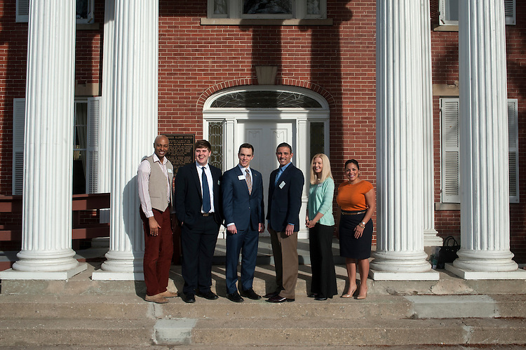 The Ohio University student and alumni trustees gather outside Konnecker Alumni Center on Thursday, March 12.