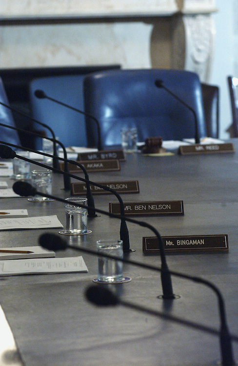 3/13/02.COMMITTEE--The table is set for a hearing of the Senate Armed Services Subcommittee on Strategic on Ballistic Missile Defense acquisition policy and oversight, in review of the Defense Authorization Request for Fiscal Year 2003..CONGRESSIONAL QUARTERLY PHOTO BY SCOTT J. FERRELL