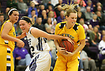 SIOUX FALLS, SD, FEBRUARY 10:  Jacey Huinker #23 from the University of Sioux Falls is whistled for a foul on Paige Peterson #23 from Augustana Friday night at the Stewart Center in Sioux Falls. (Photo by Dave Eggen/Inertia)