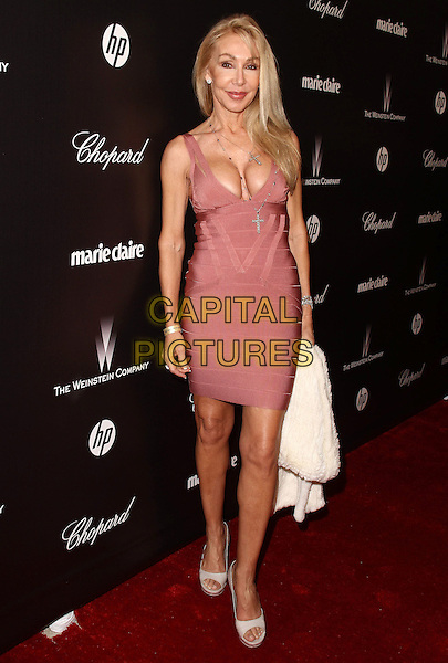 Linda Thompson.The Weinstein Company 2012 Golden Globe Awards After Party held at  Bar 210 at the Beverly Hilton Hotel, Hollywood, California, USA..January 15th, 2012.globes full length pink dress low cut neckline cleavage .CAP/ADM/CH.©Charles Harris/AdMedia/Capital Pictures