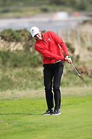 Oliver Brown from Wales on the 3rd green during Round 2 Singles of the Men's Home Internationals 2018 at Conwy Golf Club, Conwy, Wales on Thursday 13th September 2018.<br /> Picture: Thos Caffrey / Golffile<br /> <br /> All photo usage must carry mandatory copyright credit (&copy; Golffile | Thos Caffrey)