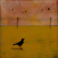 Crow in golden field with telephone poles encaustic painting with photography