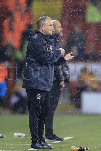 27th September 2017, Bramall Lane, Sheffield, England; EFL Championship football, Sheffield United versus Wolverhampton Wanderers; Chris Wilder manager of Sheffield United tells his team to get stuck in