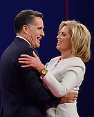 Former Massachusetts Governor Mitt Romney, the Republican Party nominee for President, embraces his wife, Ann, following the first Presidential Debate of the 2012 General Election against United States President Barack Obama (not pictured), the Democratic Party nominee for President, at the University of Denver in Denver, Colorado on Tuesday, October 2, 2012..Credit: Ron Sachs / CNP.(RESTRICTION: NO New York or New Jersey Newspapers or newspapers within a 75 mile radius of New York City)