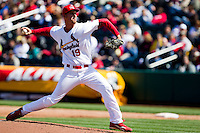 Deryk Hooker (19) of the Springfield Cardinals delivers a pitch during a game against the Springfield Cardinals on April 16, 2011 at Hammons Field in Springfield, Missouri.  Photo By David Welker/Four Seam Images.