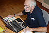 Man at an over 60s computer training class; the Sybil Levin Centre; Age Concern; Nottingham,
