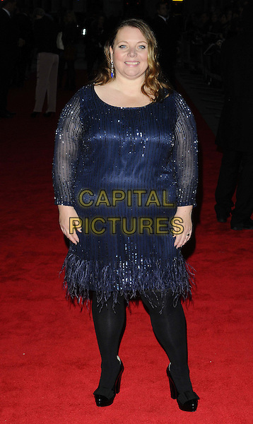 Joanna Scanlan<br /> attended the &quot;The Invisible Woman&quot; festival gala screening, 57th BFI London Film Festival day 9, Odeon West End cinema, Leicester Square, London, England, UK, 17th October 2013.<br /> arrivals premiere full length blue feather dress long sleeve beaded sheer sparkly black tights shoes bows <br /> CAP/CAN<br /> &copy;Can Nguyen/Capital Pictures