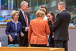 BRUSSELS - BELGIUM - 12 December 2019 -- EU-Summit with Heads of State - European Council meeting - Presidency of Finland. -- Sanna Marin ((2nd ri), Prime Minister of Finland during her first EU-Summit as PM with (f. Left) Ursula von Der Leyen, President of the European Commission, Gitanas Nauseda, President of Lithuania, Angela Merkel (ri), Federal Chancellor of Germany. -- PHOTO: Juha ROININEN / EUP-IMAGES