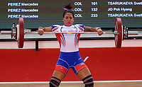 BARRANQUILLA - COLOMBIA, 22-07-2018:Competidora Flavia Reyes de Puerto Rico,  levantamiento de pesas femenino , Modalidad Arranque .Juegos Centroamericanos y del Caribe Barranquilla 2018. / Competitor Flavia Reyes of Puerto Rico, female weightlifting, Start-up Modality of the Central American and Caribbean Sports Games Barranquilla 2018. Photo: VizzorImage /  Contribuidor