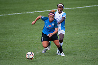 Kansas City, MO - Wednesday August 16, 2017: Desiree Scott, Chioma Ubogagu during a regular season National Women's Soccer League (NWSL) match between FC Kansas City and the Orlando Pride at Children's Mercy Victory Field.