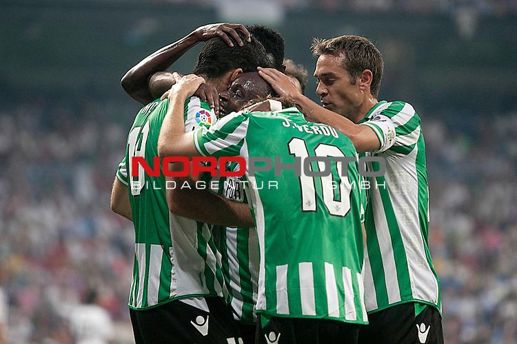 Betis' Jorge Molina, Cedrick Mabwati, Joan Verdu and Nacho Perez celebrates goal during La Liga match.August 18,2013. Foto © nph / Acero)