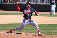 Peoria Chiefs pitcher Robby Rowland (44) delivers a pitch during a game against the Wisconsin Timber Rattlers on April 25th, 2015 at Fox Cities Stadium in Appleton, Wisconsin.  Wisconsin defeated Peoria 2-0.  (Brad Krause/Four Seam Images)