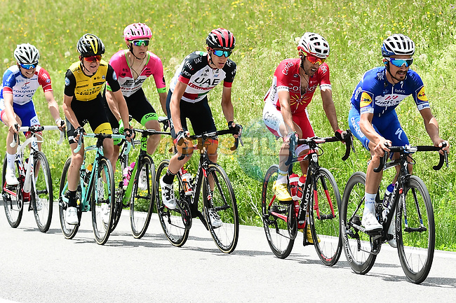 The breakaway group in action during Stage 7 of the 2018 Criterium du Dauphine 2018 running 136km from Moutiers to Saint Gervais Mont Blanc, France. 10th June 2018.<br /> Picture: ASO/Alex Broadway | Cyclefile<br /> <br /> <br /> All photos usage must carry mandatory copyright credit (© Cyclefile | ASO/Alex Broadway)
