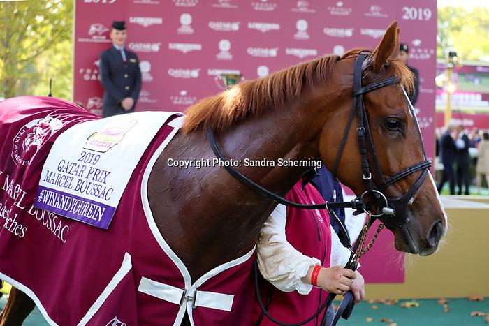 October 06, 2019, Paris (France) - Albinga (9)  after winning the Qatar Prix Marcel Boussac (Gr I) on October 6 in ParisLongchamp. [Copyright (c) Sandra Scherning/Eclipse Sportswire)]