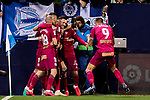 Players of Deportivo Alaves celebrate goal during La Liga match between CD Leganes and Deportivo Alaves at Butarque Stadium in Leganes, Spain. February 29, 2020. (ALTERPHOTOS/A. Perez Meca)