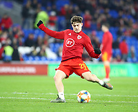 19th November 2019; Cardiff City Stadium, Cardiff, Glamorgan, Wales; European Championships 2020 Qualifiers, Wales versus Hungary; Daniel James of Wales takes a shot during warm up - Editorial Use