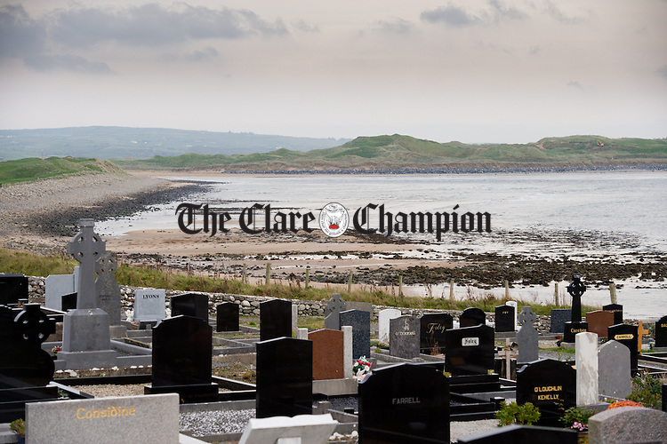 A view of the beach adjacent to the graveyard at Kilmacreehy, Liscannor, where the five million euros worth of drugs were found. Photograph by John Kelly.