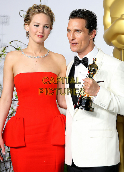 02 March 2014 - Hollywood, California - Jennifer Lawrence, Matthew McConaughey. 86th Annual Academy Awards held at the Dolby Theatre at Hollywood &amp; Highland Center. <br /> CAP/ADM<br /> &copy;AdMedia/Capital Pictures