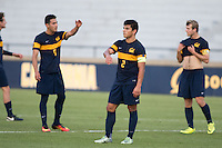 BERKELEY, CA - Oct. 13, 2016: Cal's (9) Paul Salcedo-Borrego, (2) Nick Lima and (6) Christian Thierjung react after losing to UCLA.  Cal Men's Soccer played UCLA on Goldman Field at Edwards Stadium.