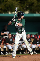 Plymouth State Panthers Jake Broom (12) during the first game of a doubleheader against the Edgewood Eagles on March 17, 2015 at Terry Park in Fort Myers, Florida.  Edgewood defeated Plymouth State 12-3.  (Mike Janes/Four Seam Images)