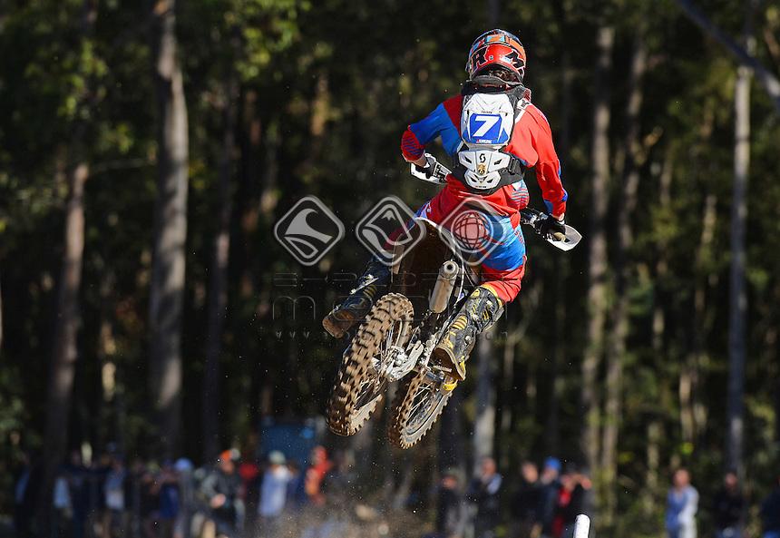 Connor Tierney / Husqvarna<br /> MX Nationals / Round 6 / MXD<br /> Australian Motocross Championships<br /> Raymond Terrace NSW<br /> Sunday 5 July 2015<br /> &copy; Sport the library / Jeff Crow