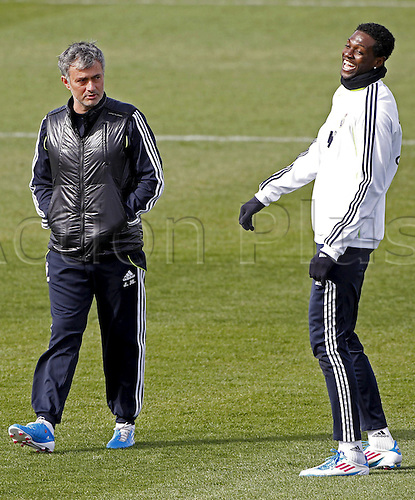 09.03.2011 Real Madrid's Portuguese coach Jose Mourinho (L) and Togolese striker Emmanuel Adebayor, during a team's training session held at Valdebebas Sports Complex in Madrid, Spain........