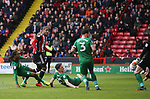 Leon Clarke of Sheffield Utd looks on as his shot is saved by Declan Rudd of Preston North End during the championship match at the Bramall Lane Stadium, Sheffield. Picture date 28th April 2018. Picture credit should read: Simon Bellis/Sportimage