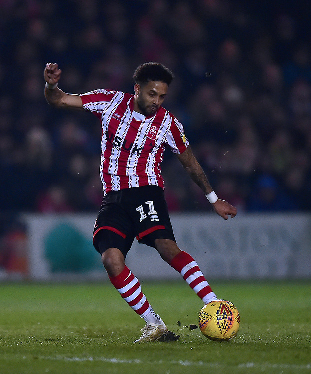 Lincoln City's Bruno Andrade<br /> <br /> Photographer Andrew Vaughan/CameraSport<br /> <br /> The EFL Sky Bet League Two - Lincoln City v Exeter City - Tuesday 26th February 2019 - Sincil Bank - Lincoln<br /> <br /> World Copyright © 2019 CameraSport. All rights reserved. 43 Linden Ave. Countesthorpe. Leicester. England. LE8 5PG - Tel: +44 (0) 116 277 4147 - admin@camerasport.com - www.camerasport.com