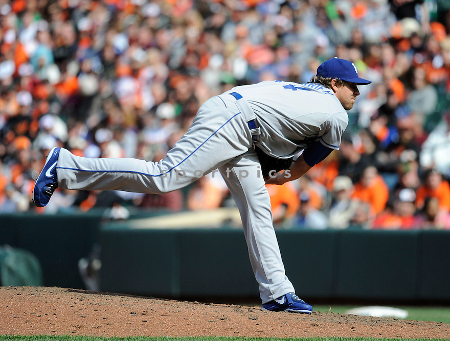 Los Angeles Dodgers Matt Gurrier (54)  during a game against the Baltimore Orioles on April 21, 2013 at Oriole Park in Baltimore, MD. The Dodgers beat the Orioles 7-4.