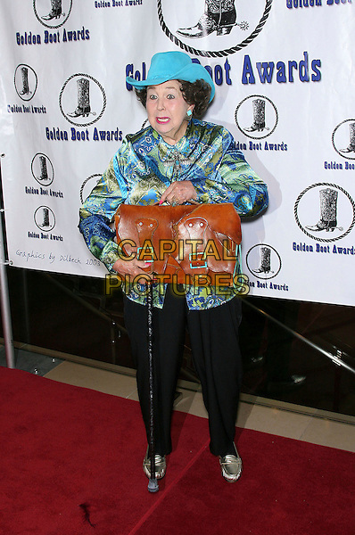 JANE WITHERS.The Motion Picture and Television Fund's 24th Golden Boot Awards - Arrivals at the Beverly Hilton Hotel, Beverly Hills, California, USA, 12 August 2006..full length blue turquoise hat patterned shirt cane walking stick brown bag.Ref: ADM/ZL.www.capitalpictures.com.sales@capitalpictures.com.©Zach Lipp/AdMedia/Capital Pictures.