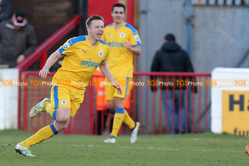 Tom Shaw of Chester celebrates scoring the second goal during Dagenham & Redbridge vs Chester, Vanarama National League Football at the Chigwell Construction Stadium on 4th February 2017