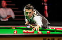 Mark Selby follows the cue ball during the Dafabet Masters Quarter Final 3 match between Ronnie O'Sullivan and Mark Selby at Alexandra Palace, London, England on 14 January 2016. Photo by Liam Smith / PRiME Media Images