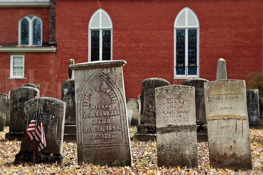 Ancient cemetery and church, Vermont, VT, USA