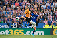 Ryan Bennett of Wolves & Jamie Vardy of Leicester City during the Premier League match between Leicester City and Wolverhampton Wanderers at the King Power Stadium, Leicester, England on 10 August 2019. Photo by Andy Rowland.